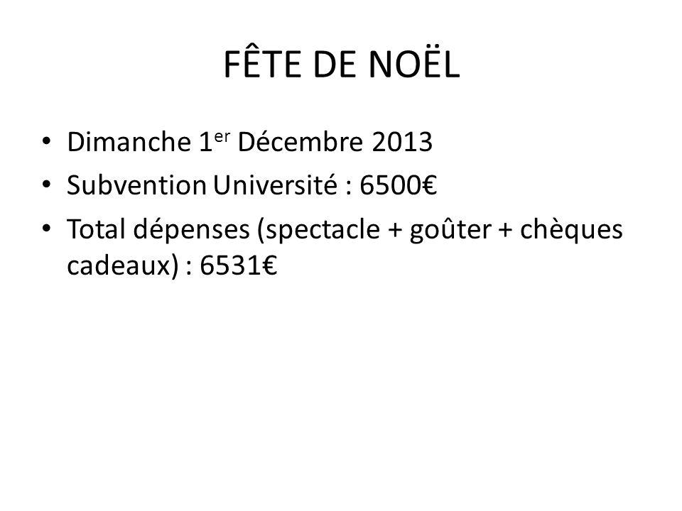 FÊTE DE NOËL Dimanche 1 er Décembre 2013 Subvention Université : 6500€ Total dépenses (spectacle + goûter + chèques cadeaux) : 6531€