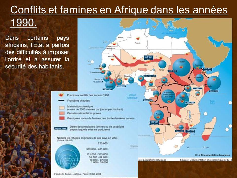 Conflits et famines en Afrique dans les années 1990.