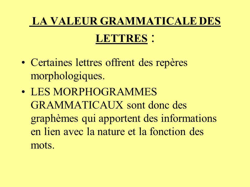 LA VALEUR GRAMMATICALE DES LETTRES : Certaines lettres offrent des repères morphologiques. LES MORPHOGRAMMES GRAMMATICAUX sont donc des graphèmes qui