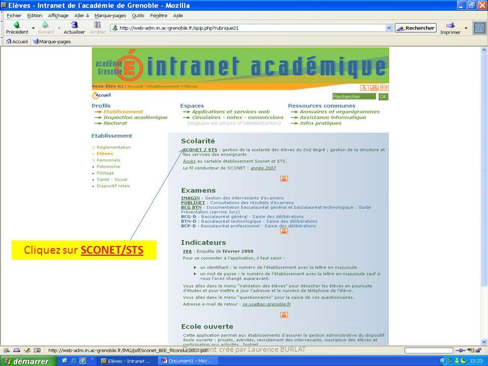 Cliquez sur SCONET/STS Document créé par Laurence BURLAT
