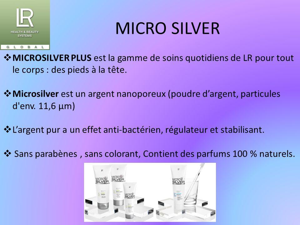 MICRO SILVER  MICROSILVER PLUS est la gamme de soins quotidiens de LR pour tout le corps : des pieds à la tête.  Microsilver est un argent nanoporeu