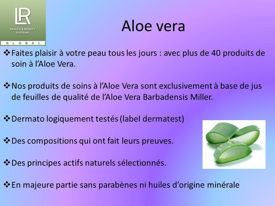 Aloe vera  Faites plaisir à votre peau tous les jours : avec plus de 40 produits de soin à l'Aloe Vera.  Nos produits de soins à l'Aloe Vera sont ex