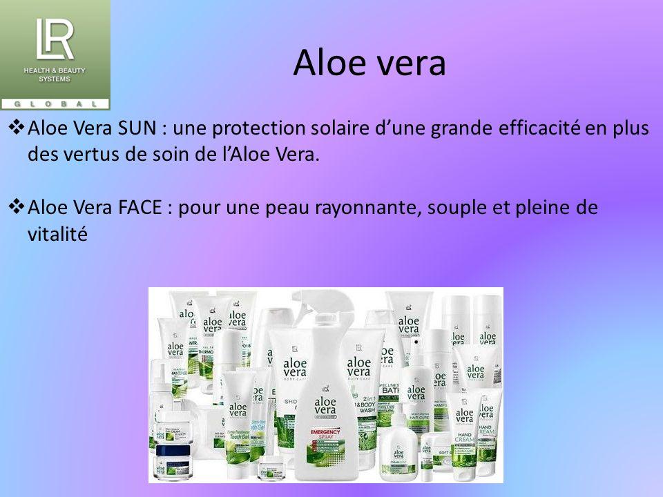 Aloe vera  Aloe Vera SUN : une protection solaire d'une grande efficacité en plus des vertus de soin de l'Aloe Vera.  Aloe Vera FACE : pour une peau