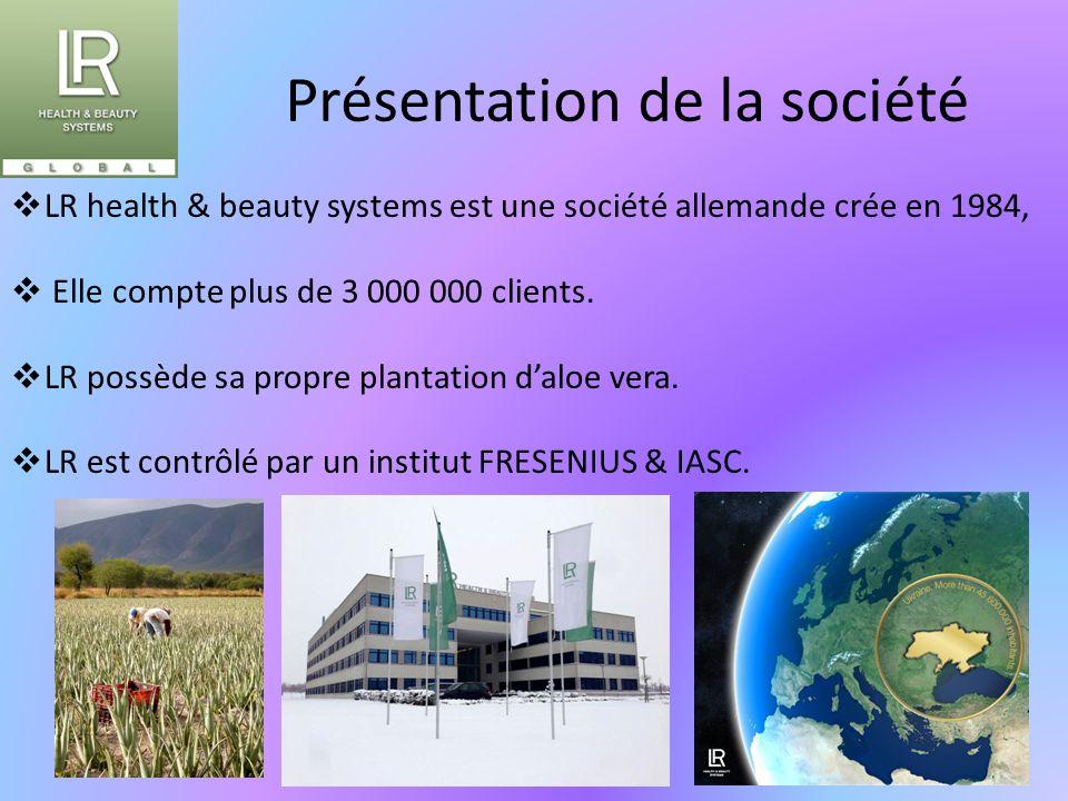 Présentation de la société  LR health & beauty systems est une société allemande crée en 1984,  Elle compte plus de 3 000 000 clients.  LR possède