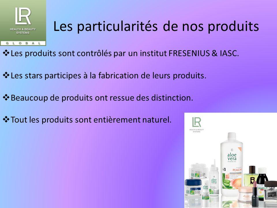Les particularités de nos produits  Les produits sont contrôlés par un institut FRESENIUS & IASC.  Les stars participes à la fabrication de leurs pr