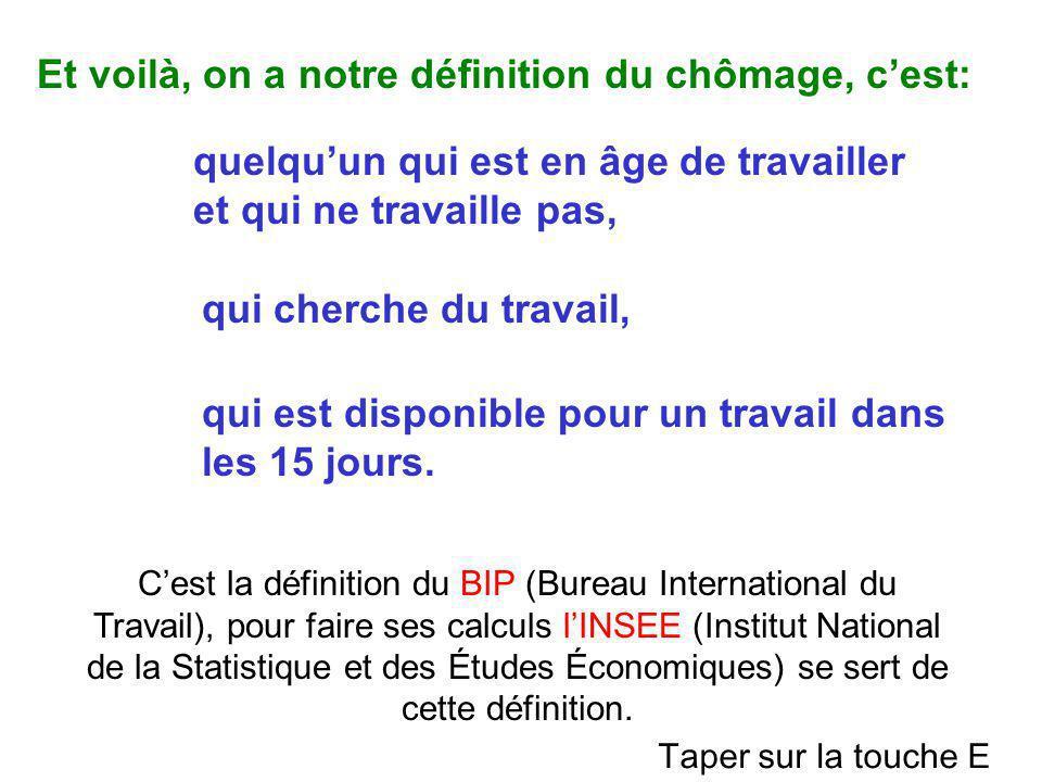 C'est la définition du BIP (Bureau International du Travail), pour faire ses calculs l'INSEE (Institut National de la Statistique et des Études Économ