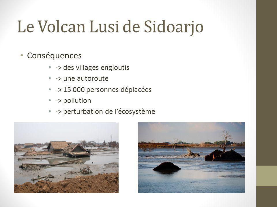 Le Volcan Lusi de Sidoarjo Conséquences -> des villages engloutis -> une autoroute -> 15 000 personnes déplacées -> pollution -> perturbation de l'écosystème