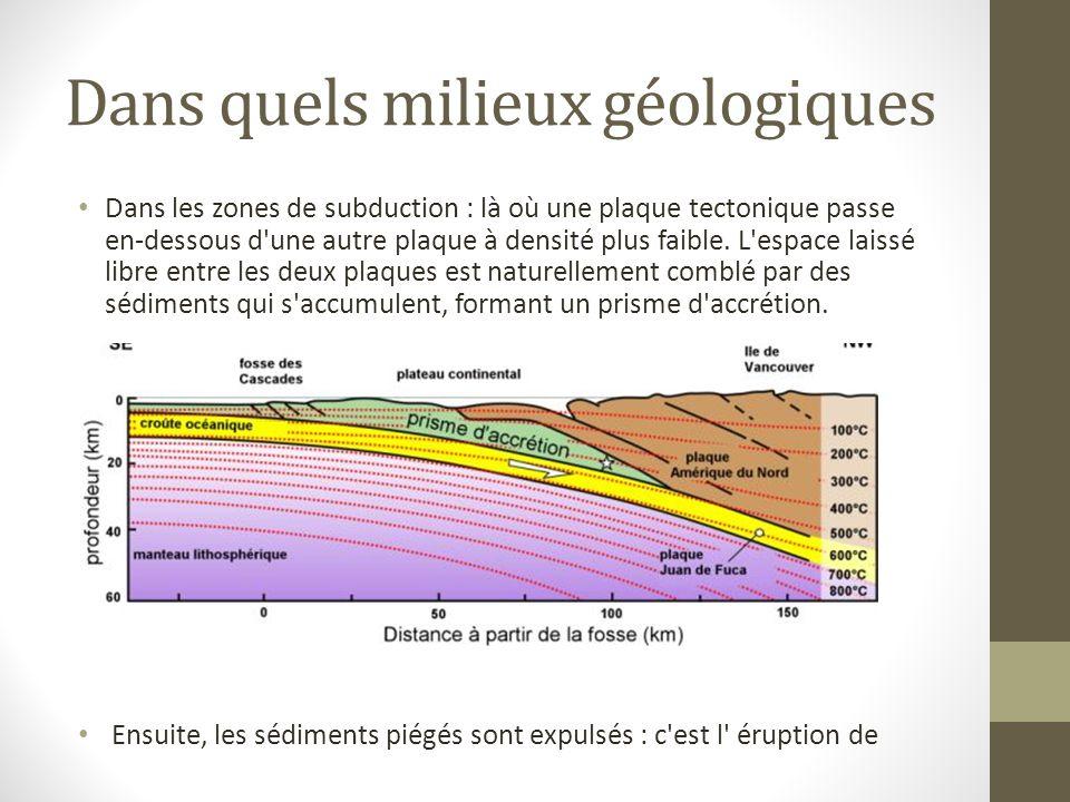 Dans quels milieux géologiques Dans les zones de subduction : là où une plaque tectonique passe en-dessous d une autre plaque à densité plus faible.