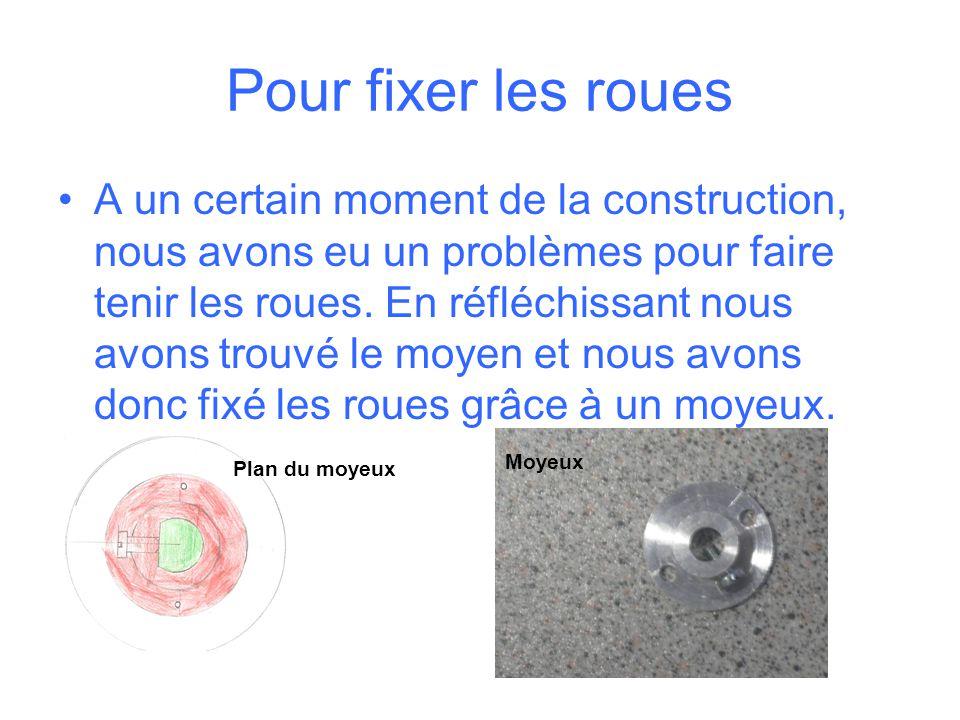 Pour fixer les roues A un certain moment de la construction, nous avons eu un problèmes pour faire tenir les roues.
