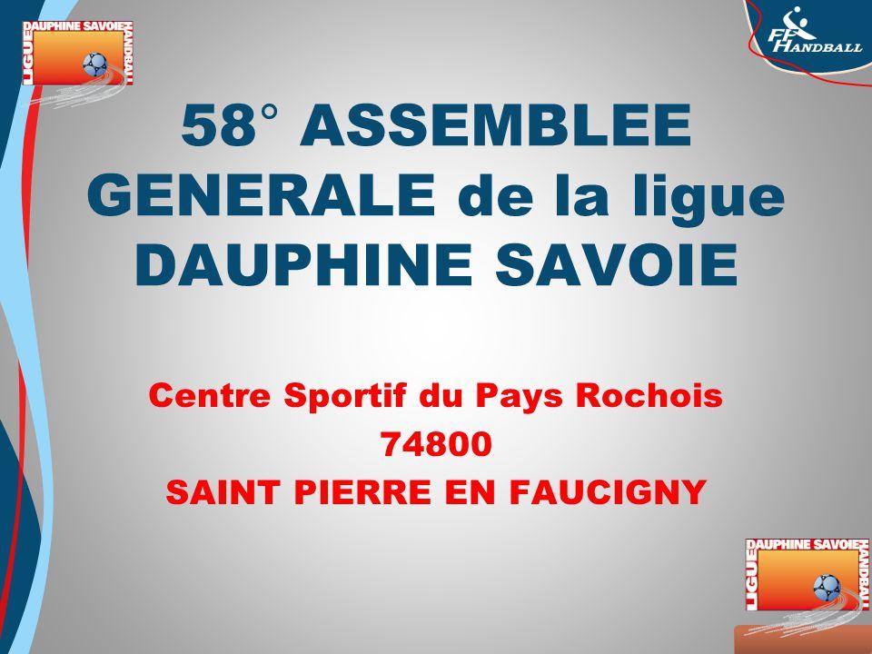 Octobre 2008 58° ASSEMBLEE GENERALE de la ligue DAUPHINE SAVOIE Centre Sportif du Pays Rochois 74800 SAINT PIERRE EN FAUCIGNY