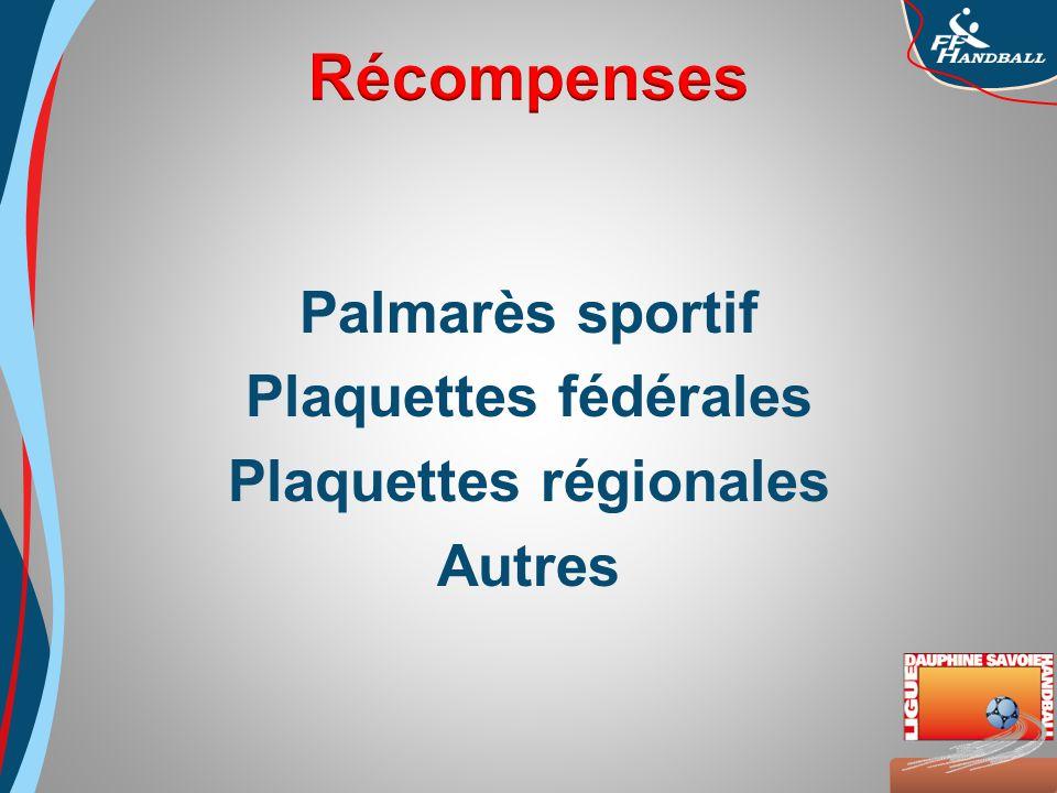 Octobre 2008 Palmarès sportif Plaquettes fédérales Plaquettes régionales Autres