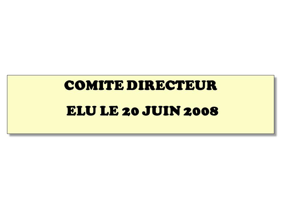 COMITE DIRECTEUR ELU LE 20 JUIN 2008 COMITE DIRECTEUR ELU LE 20 JUIN 2008