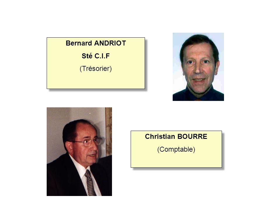 Christian BOURRE (Comptable) Christian BOURRE (Comptable) Bernard ANDRIOT Sté C.I.F (Trésorier) Bernard ANDRIOT Sté C.I.F (Trésorier)