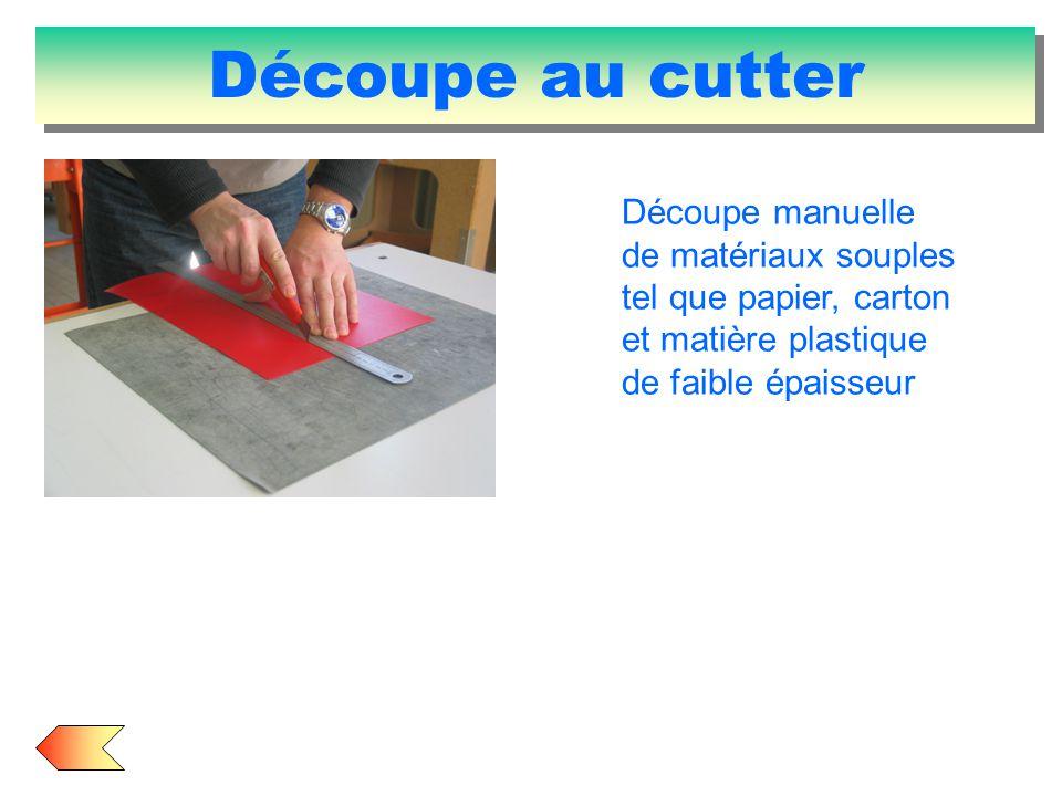 Découpe au cutter Découpe manuelle de matériaux souples tel que papier, carton et matière plastique de faible épaisseur