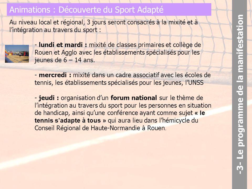 Animations : Découverte du Sport Adapté Au niveau local et régional, 3 jours seront consacrés à la mixité et à l'intégration au travers du sport : - lundi et mardi : mixité de classes primaires et collège de Rouen et Agglo avec les établissements spécialisés pour les jeunes de 6 – 14 ans.