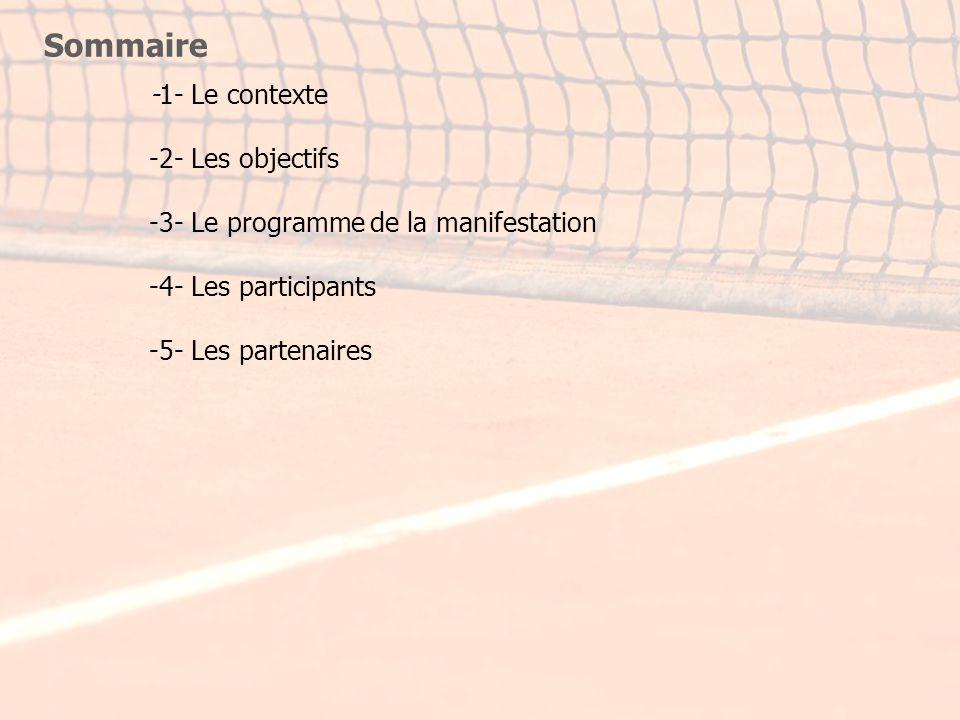 Sommaire -1- Le contexte -2- Les objectifs -3- Le programme de la manifestation -4- Les participants -5- Les partenaires