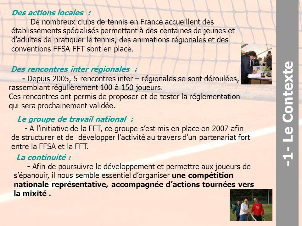 Des actions locales : - De nombreux clubs de tennis en France accueillent des établissements spécialisés permettant à des centaines de jeunes et d'adultes de pratiquer le tennis, des animations régionales et des conventions FFSA-FFT sont en place.