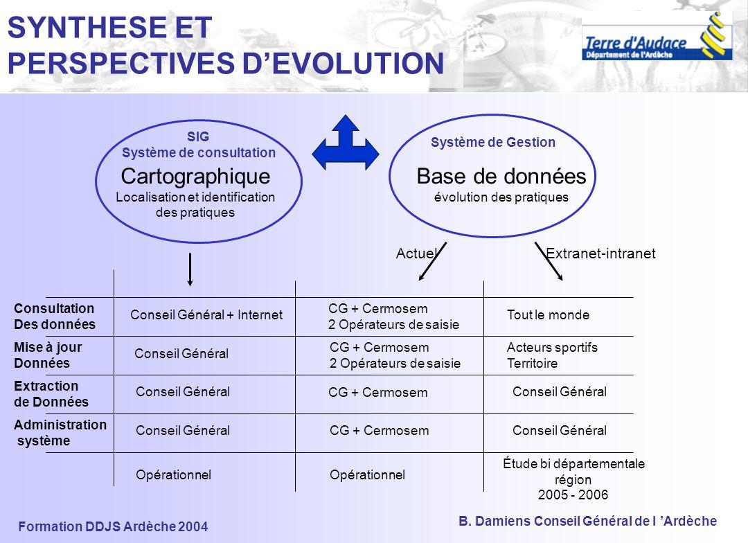 Formation DDJS Ardèche 2004 B. Damiens Conseil Général de l 'Ardèche 3) LES OUTILS Le SIG et sa Base de Données Le SIG et sa Base de Données La Grille