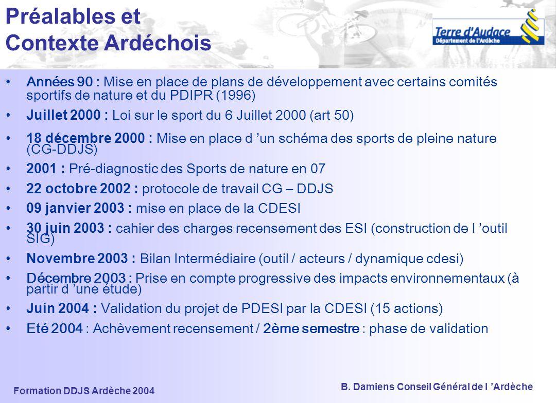 Formation DDJS Ardèche 2004 B. Damiens Conseil Général de l 'Ardèche CDESI / PDESI L'expérimentation ardéchoise Sommaire 1) LES ENJEUX 2) LA DEMARCHE