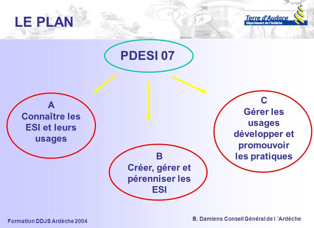 Formation DDJS Ardèche 2004 B. Damiens Conseil Général de l 'Ardèche 5) LE PDESI ET SA MISE EN OEUVRE