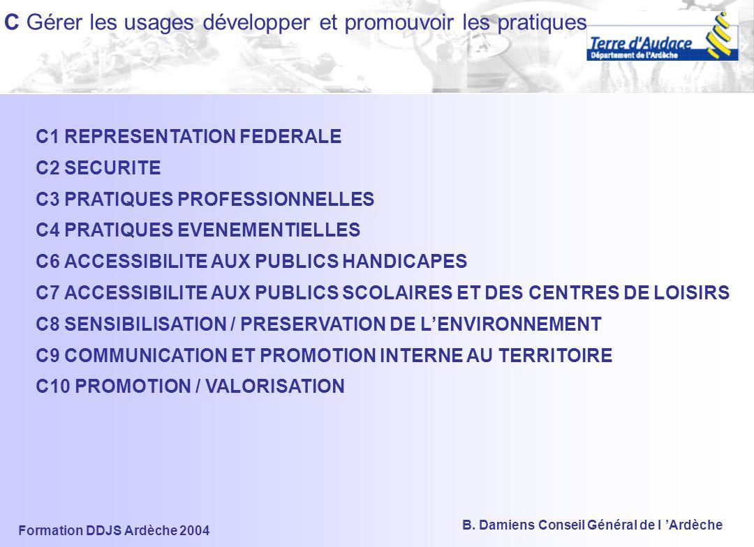 Formation DDJS Ardèche 2004 B. Damiens Conseil Général de l 'Ardèche B Créer, gérer et pérenniser les ESI B1 MISE EN COHERENCE DES PLANIFICATIONS TERR