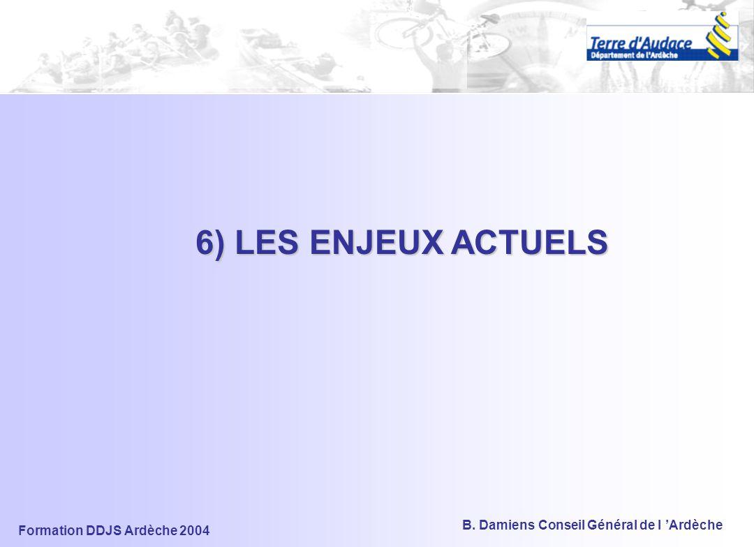 Formation DDJS Ardèche 2004 B. Damiens Conseil Général de l 'Ardèche Contenu et Déclinaison du PDESI Connaissance et Usage des ESI Création, Gestion,a