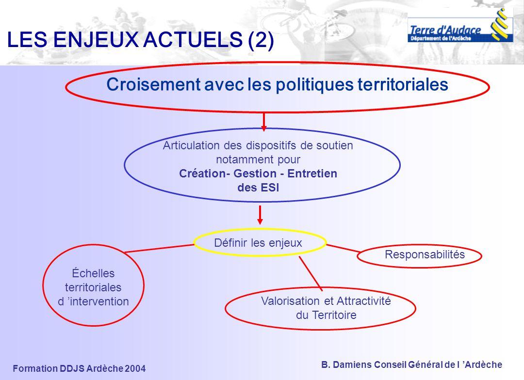 Formation DDJS Ardèche 2004 B. Damiens Conseil Général de l 'Ardèche LES ENJEUX ACTUELS (1) Gestion et évolution de l 'outil SIG Communication utilisa