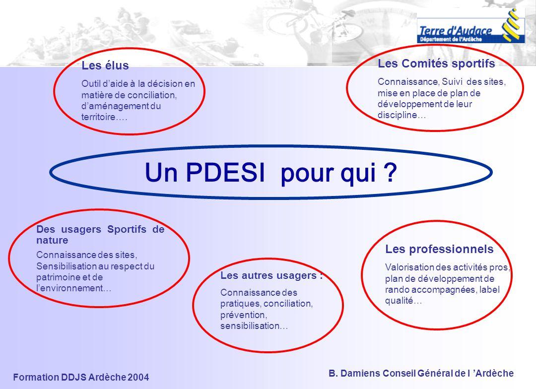 Formation DDJS Ardèche 2004 B.Damiens Conseil Général de l 'Ardèche Un PDESI pour qui .