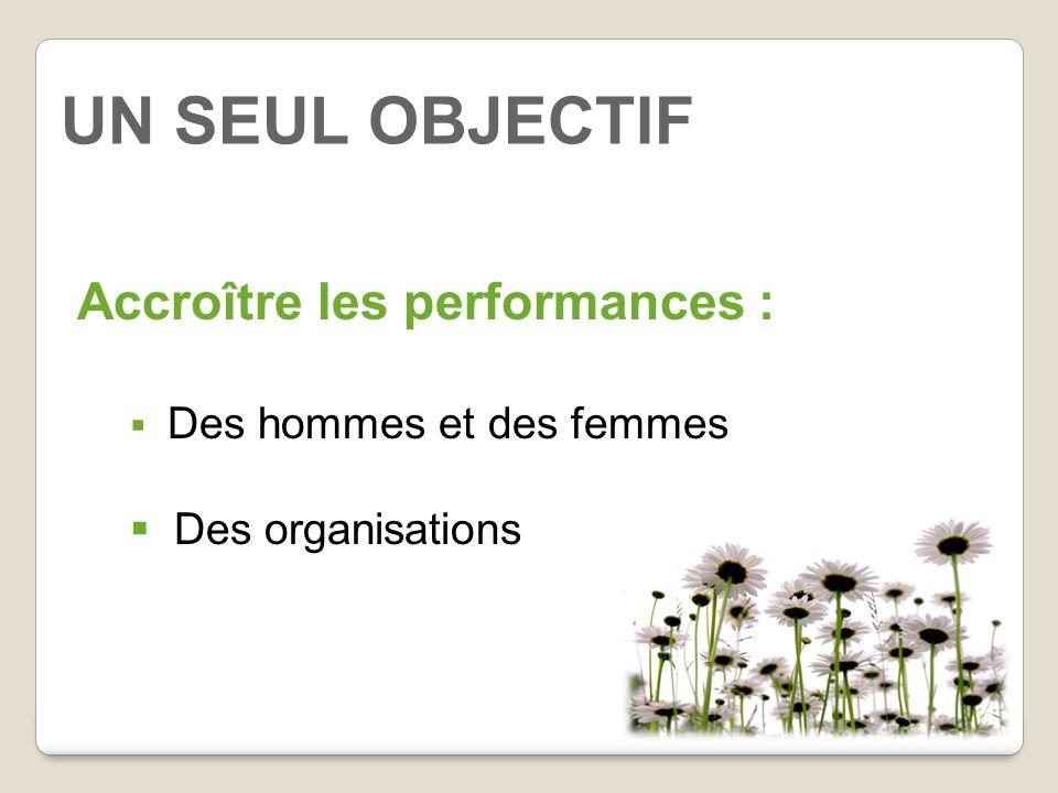 UN SEUL OBJECTIF Accroître les performances :  Des hommes et des femmes  Des organisations