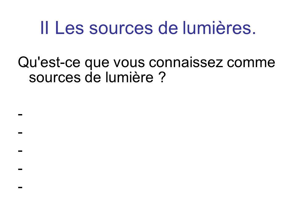 II Les sources de lumières. Qu est-ce que vous connaissez comme sources de lumière ? -