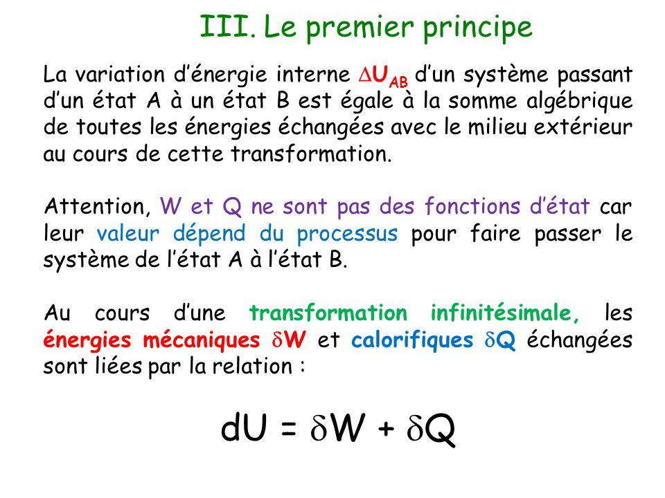 III. Le premier principe La variation d'énergie interne  U AB d'un système passant d'un état A à un état B est égale à la somme algébrique de toutes