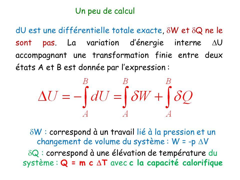 dU est une différentielle totale exacte,  W et  Q ne le sont pas. La variation d'énergie interne  U accompagnant une transformation finie entre deu