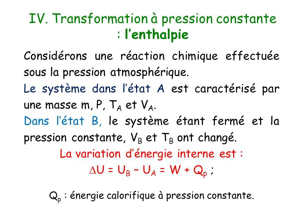 IV. Transformation à pression constante : l'enthalpie Considérons une réaction chimique effectuée sous la pression atmosphérique. Le système dans l'ét