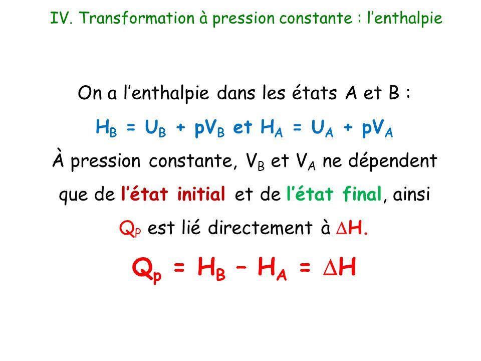 On a l'enthalpie dans les états A et B : H B = U B + pV B et H A = U A + pV A À pression constante, V B et V A ne dépendent que de l'état initial et d