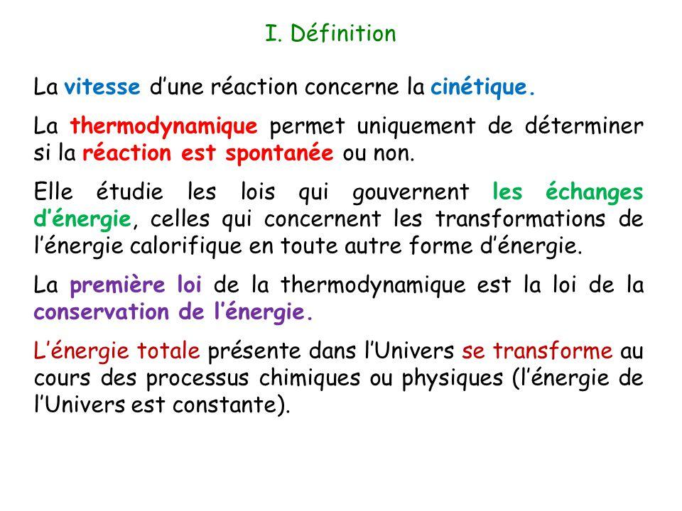 La vitesse d'une réaction concerne la cinétique. La thermodynamique permet uniquement de déterminer si la réaction est spontanée ou non. Elle étudie l