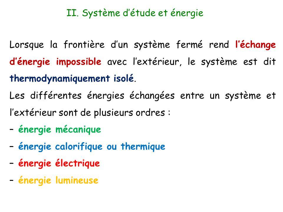 Lorsque la frontière d'un système fermé rend l'échange d'énergie impossible avec l'extérieur, le système est dit thermodynamiquement isolé. Les différ
