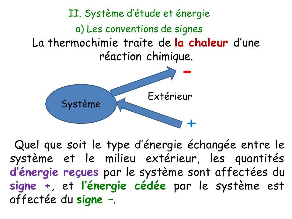 a) Les conventions de signes Quel que soit le type d'énergie échangée entre le système et le milieu extérieur, les quantités d'énergie reçues par le s