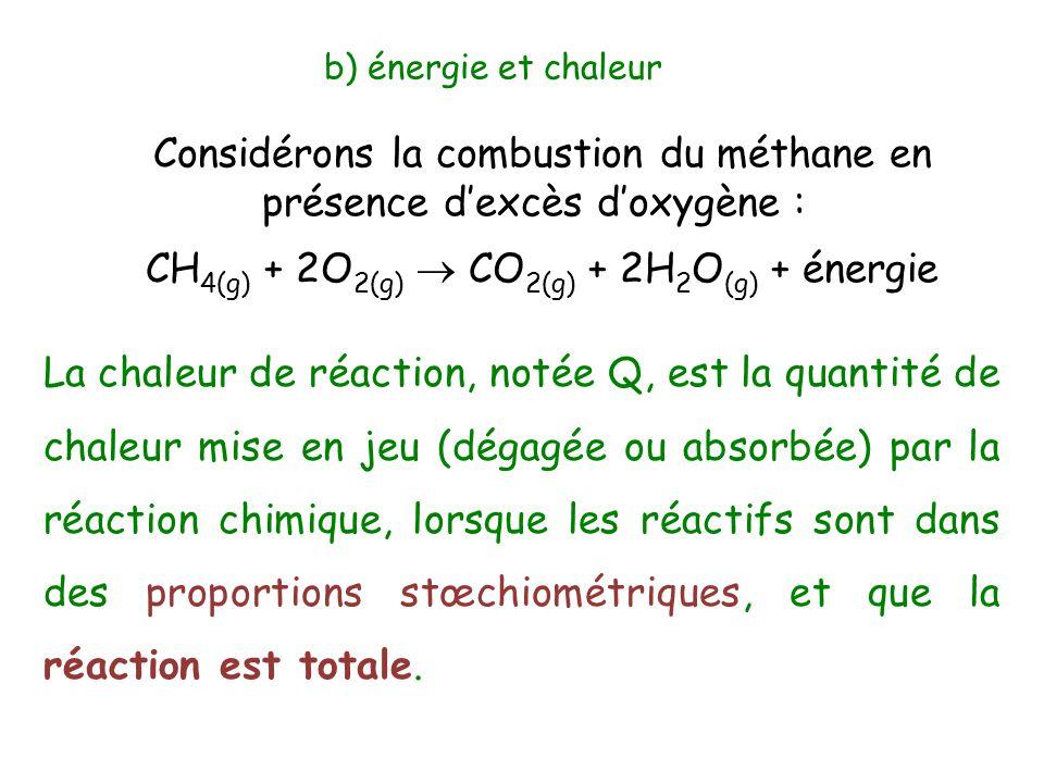 b) énergie et chaleur Considérons la combustion du méthane en présence d'excès d'oxygène : CH 4(g) + 2O 2(g)  CO 2(g) + 2H 2 O (g) + énergie La chale