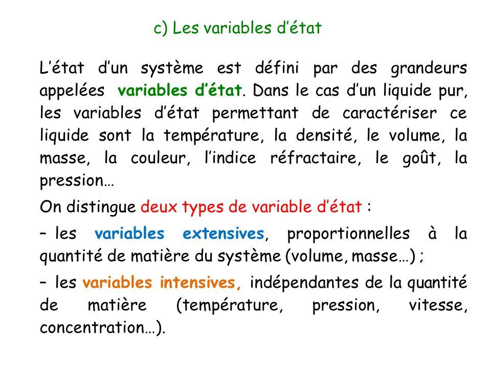 L'état d'un système est défini par des grandeurs appelées variables d'état. Dans le cas d'un liquide pur, les variables d'état permettant de caractéri