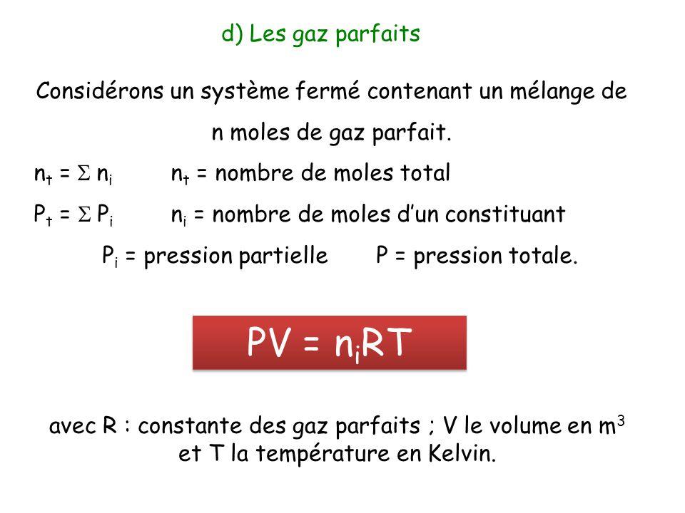 Considérons un système fermé contenant un mélange de n moles de gaz parfait. n t =  n i n t = nombre de moles total P t =  P i n i = nombre de mol