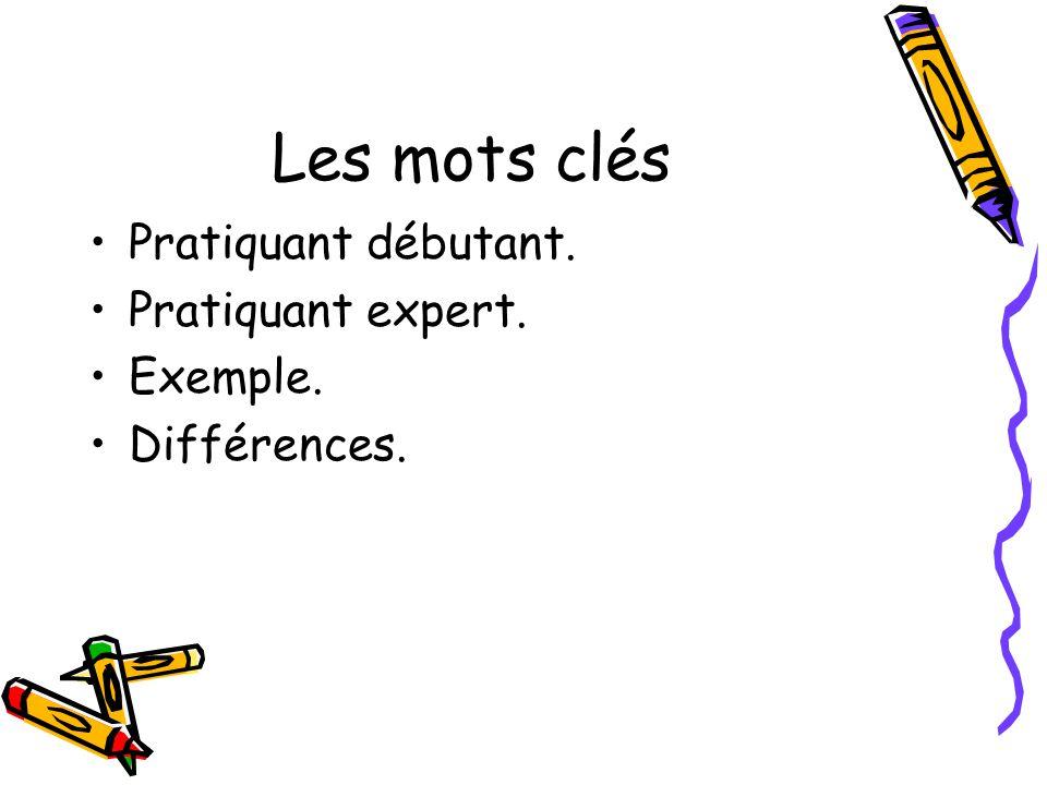 Les mots clés Pratiquant débutant. Pratiquant expert. Exemple. Différences.