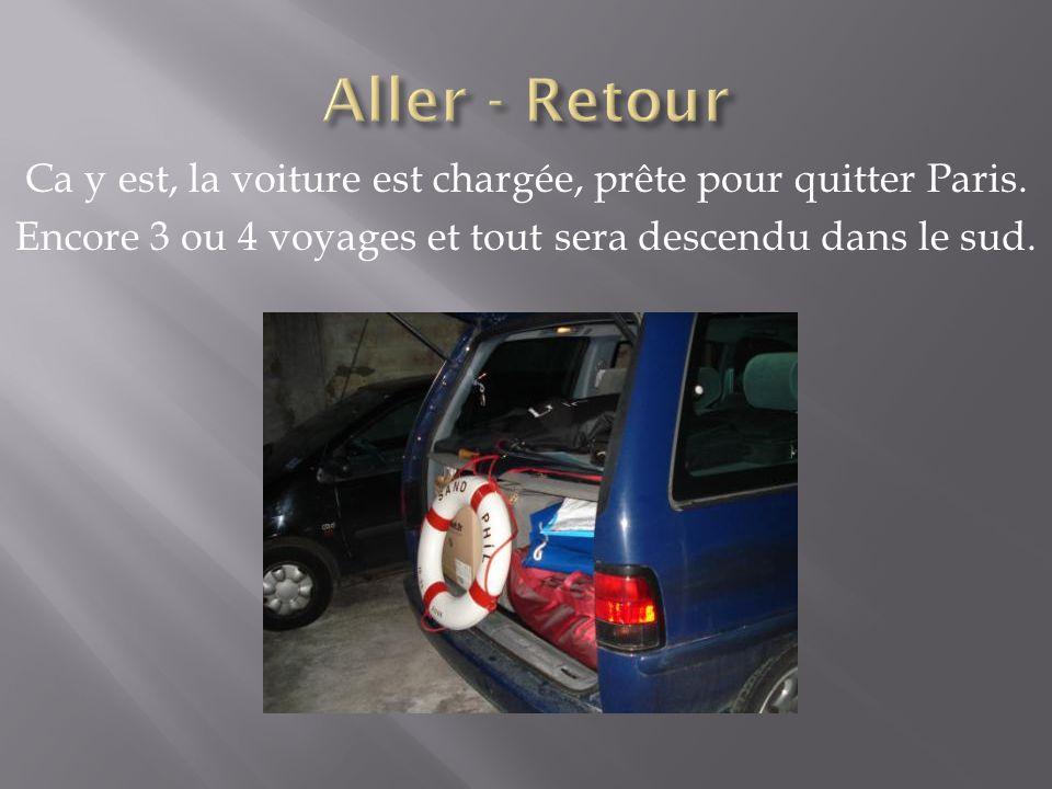 Ca y est, la voiture est chargée, prête pour quitter Paris.