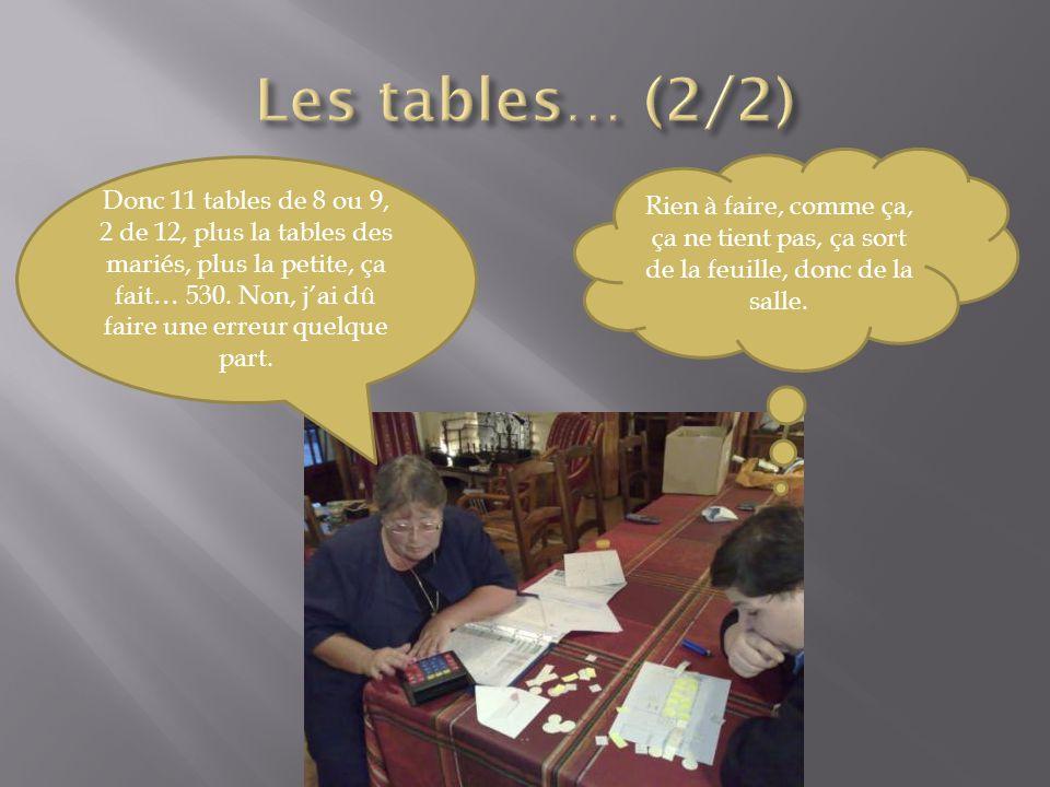 Donc 11 tables de 8 ou 9, 2 de 12, plus la tables des mariés, plus la petite, ça fait… 530.