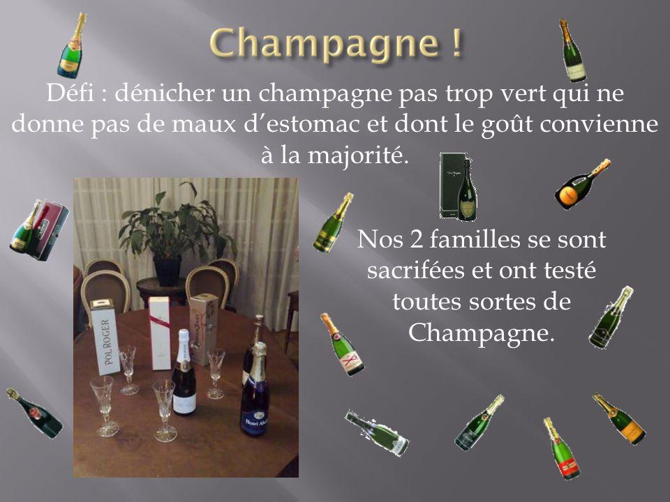 Défi : dénicher un champagne pas trop vert qui ne donne pas de maux d'estomac et dont le goût convienne à la majorité.