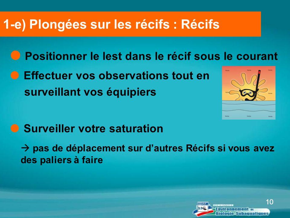 10  Positionner le lest dans le récif sous le courant  Effectuer vos observations tout en surveillant vos équipiers  Surveiller votre saturation 