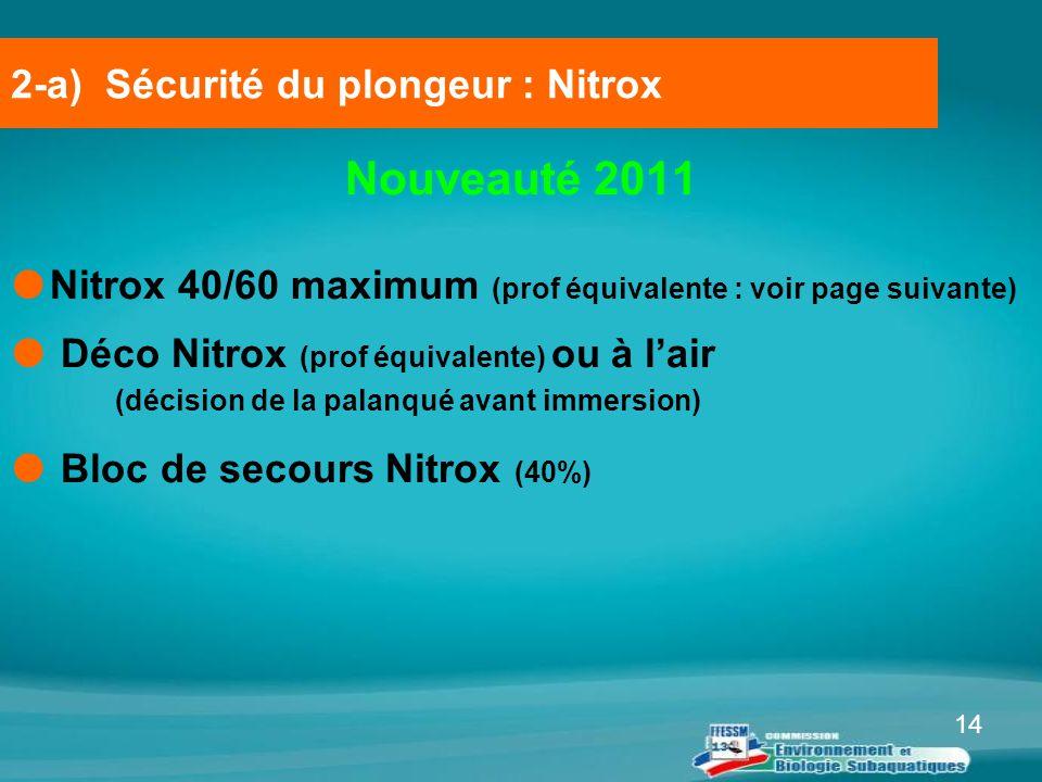 14 Nouveauté 2011  Nitrox 40/60 maximum (prof équivalente : voir page suivante)  Déco Nitrox (prof équivalente) ou à l'air (décision de la palanqué