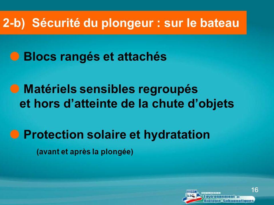 16  Blocs rangés et attachés  Matériels sensibles regroupés et hors d'atteinte de la chute d'objets  Protection solaire et hydratation (avant et ap