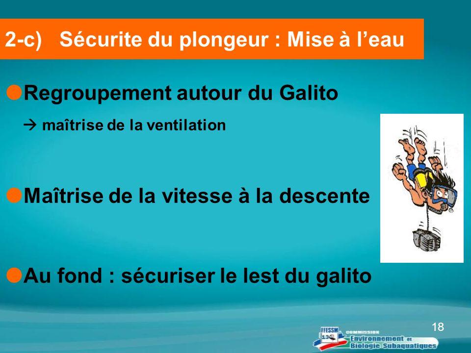 18  Regroupement autour du Galito  maîtrise de la ventilation  Maîtrise de la vitesse à la descente  Au fond : sécuriser le lest du galito 2-c) Sé