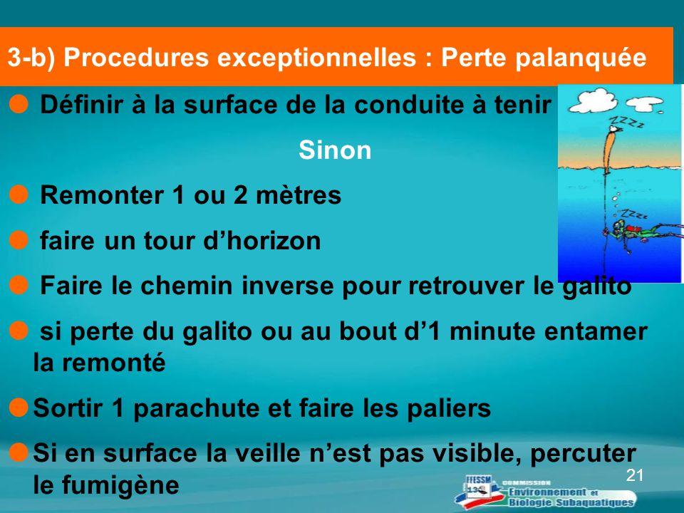 21 3-b) Procedures exceptionnelles : Perte palanquée  Définir à la surface de la conduite à tenir Sinon  Remonter 1 ou 2 mètres  faire un tour d'ho