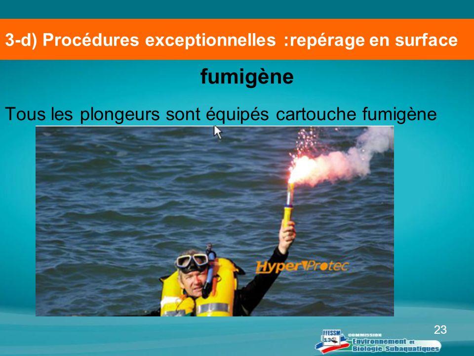 23 fumigène Tous les plongeurs sont équipés cartouche fumigène 3-d) Procédures exceptionnelles :repérage en surface